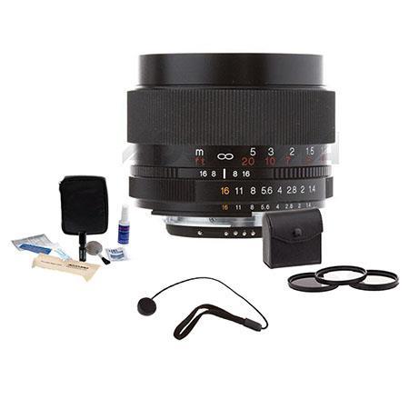 Voigtlander Nokton 58mm f/1.4 SL-II Manual Focus Lens for Nikon Film & Digital Cameras - Bundle - with Pro Optic 58mm Digital Essentials Filter Kit, Lens Ca