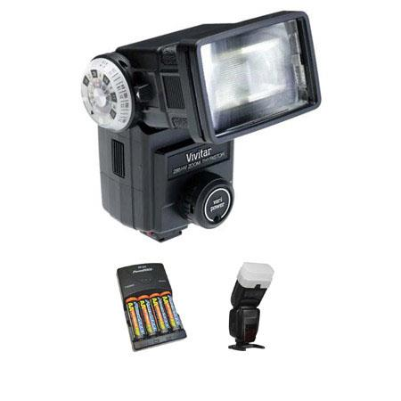 Vivitar 285HV Non-Dedicated Shoe Mount Flash - Basic Outfit with 4 NiMH Batteries, Charger, Sto-Fen Omni-Bounce Flash Diffuser