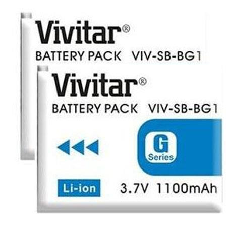 Vivitar Replacement Rechargeable Lithium Battery for Sony NP-BG1, Pack of Two
