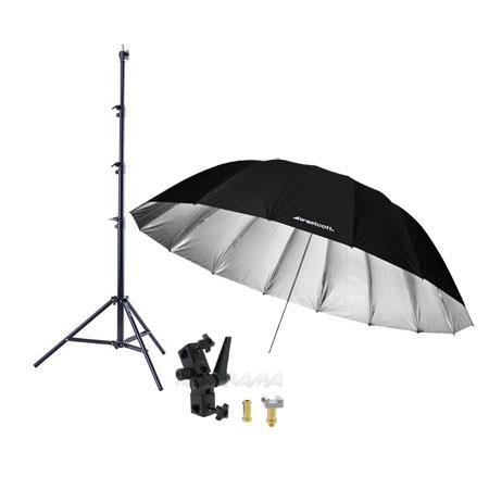 Westcott 7 Feet Silver Parabolic Umbrella BUNDLE with Umbrella Bracket / Adjutsable Flash Mount - 8.5' Black Lightstand