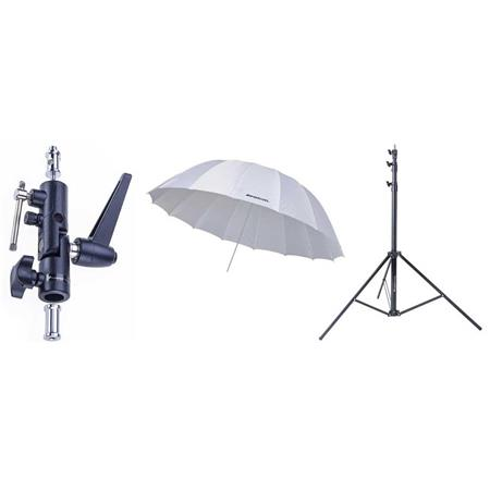 Westcott 4632 7-Foot White Diffusion Parabolic Umbrella BUNDLE with Umbrella Bracket / Adjutsable Flash Mount - 8.5' Black Lightstand
