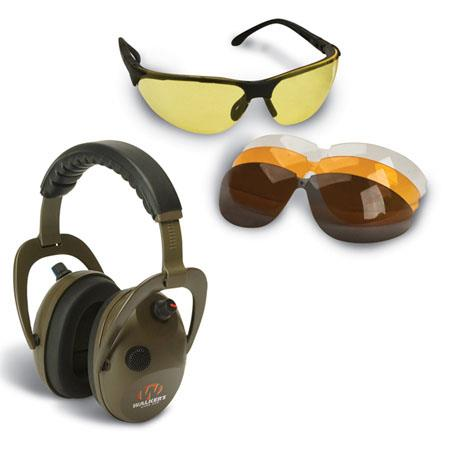 Walkers Game Ear Aplha Power Muffs Combo Kit with Electronic Earmuffs and Shooting Glasses with 4 Lenses