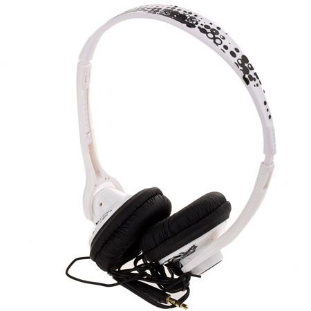 Wicked WI-8002 Chill Lightweight On Ear White with Black Print Headphone