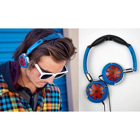 Wicked WI-8100 Tour Portable Stylish Folding Blue with Red Design Headphone