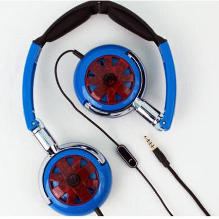 Wicked WI-8150 Tour Portable Stylish Folding Blue with Red Design Headphone with Mic