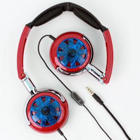 Wicked WI-8152 Tour Portable Stylish Folding Red with Blue Design Headphone with Mic