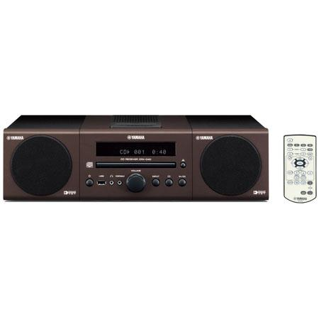 Yamaha MCR-040 Bookshelf Micro Component System with Built-in iPod Dock, CD Player, FM Radio, USB and Mini Jack Inputs - Brown