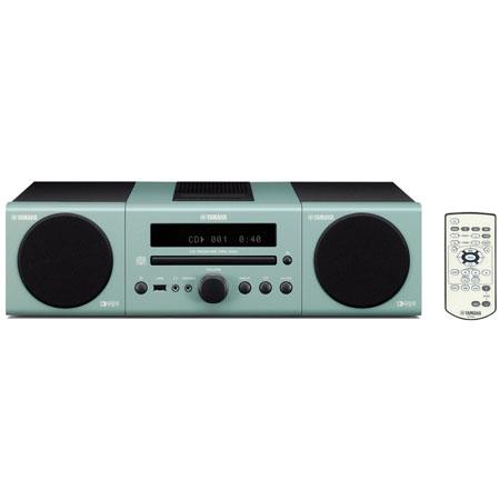 Yamaha MCR-040 Bookshelf Micro Component System with Built-in iPod Dock, CD Player, FM Radio, USB and Mini Jack Inputs - Light Gray