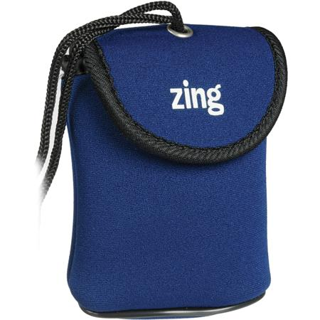 Zing Blue Neoprene Case for Small Size Point & Shoot Cameras, with Belt Loop & Neck Strap
