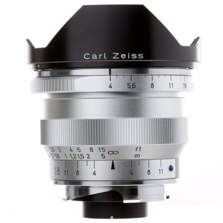 Zeiss Ikon 18mm f/4 T* ZM Distagon Lens, for Zeiss Ikon & Leica M Mount Rangefinder Cameras, Silver