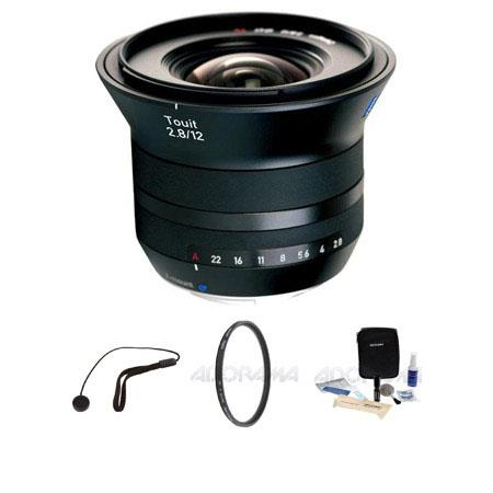 Zeiss 12mm f/2.8 Touit Series for Fujifilm X Series Cameras - Bundle - with Heliopan 67mm UV 16 Layer Multi-Coated Filter, Flashpoint CapKeeper Model CK-2 Lens Cap Leash, and Adorama 1836A Cleaning Kit for Optics and Cameras