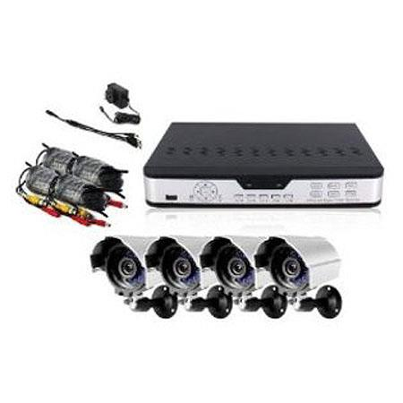 "Zmodo Surveillance PKD-DK0863-NHD 8 Channel CCTV DVR 4x Outdoor Night Vision Camera System, 1/4"" Color Image Sensor, 240fps Display Frame Rate, No HDD"