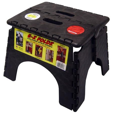 "E-z Foldz Plastic 9"" Step Stool, Supports up to 300 lbs., Black"