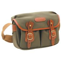 Hadley Small, Camera or Document Shoulder Bag, Sage Canvas with Tan Leather Trim and Brass Fittings. Product image - 301