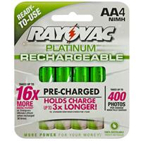 4-Pack Rayovac Platinum Pre-Charged NiMH AA Size Batteries $4.99