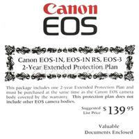 Canon 2 Year Extended Service Warranty For EOS 3 image