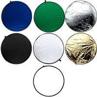"Flashpoint 32"" 7-in-1 Collapsible Disc Reflector, Translucent, White, Black, Silver, Gold, Chroma Blue & Green, with Zippered Carrying Case"