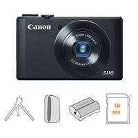 Canon PowerShot S110 Digital Camera, 12.1MP, 5x Optical Zoom, 24-120mm UA Lens, Black - Bundle - with 8GB SDHC Class 10 Memory Card, Camera Pouch, SpareNB-5L 1200mAh Battery, Two Section Table Top Tripod