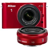 Nikon 1 J1 Mirrorless Digital Camera Two Lens Wide Angle Kit with Nikon 1 10mm f 2 8 Lens and amp Nikon 1 10 30mm VR Zoom Lens Red