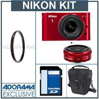 Nikon 1 J1 Mirrorless Digital Camera Two Lens Wide Angle Kit with Nikon 1 10mm f 2 8 Lens and amp Nikon 1 10 30mm VR Zoom Lens Red Bundle with 32GB SDHC Mem