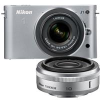 Nikon 1 J1 Mirrorless Digital Camera Two Lens Wide Angle Kit with Nikon 1 10mm f 2 8 Lens and amp Nikon 1 10 30mm VR Zoom Lens Silver