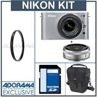 Nikon 1 J1 Mirrorless Digital Camera Two Lens Wide Angle Kit with Nikon 1 10mm f 2 8 Lens and amp Nikon 1 10 30mm VR Zoom Lens Silver Bundle with 32GB SDHC