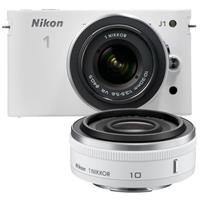 Nikon 1 J1 Mirrorless Digital Camera Two Lens Wide Angle Kit with Nikon 1 10mm f 2 8 Lens and amp Nikon 1 10 30mm VR Zoom Lens White