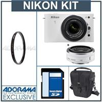 Nikon 1 J1 Mirrorless Digital Camera Two Lens Wide Angle Kit with Nikon 1 10mm f 2 8 Lens and amp Nikon 1 10 30mm VR Zoom Lens White Bundle with 32GB SDHC M