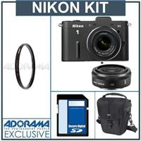 Nikon 1 V1 Mirrorless Digital Camera Two Lens Wide Angle Kit with Nikon 1 10mm f 2 8 Lens and amp Nikon 1 10 30mm VR Zoom Lens Black Bundle with 32GB SDHC M