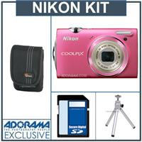 Nikon Coolpix S5100 Digital Camera Kit - Pink - with 4GB SD Memory Card, Camera Case, Table Top Tripod