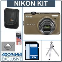 Nikon Coolpix S6000 Digital Camera, - Bronze - with 8GB SD Memory Card, Camera Case, Table Top Tripod , Spare EN EL-12 Lithium-Ion Battery, 2 Year Extended Serv