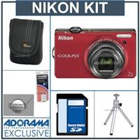Nikon Coolpix S6000 Digital Camera, - Red - with 8GB SD Memory Card, Camera Case, Table Top Tripod , Spare EN EL-12 Lithium-Ion Battery, 2 Year Extended Service
