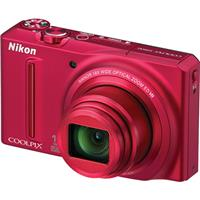 Nikon Coolpix S9100 Digital Camera with 12.1 Megapixels, 18x Optical Zoom, 3in LCD, Full HD (1080p) Movies, 5-Way VR Image Stabilization, Red