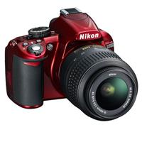 Nikon D3100 Digital SLR Camera with 18-55mm NIKKOR VR Lens - Red - Refurbished by Nikon U.S.A.