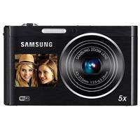"Samsung DV300F SMART 16MP DualView Digital Camera, 1/2.3"" CCD Sensor, 25-125mm Wide-Angle Lens, 5x Optical Zoom, 3"" TFT LCD Display, WiFi, Black"
