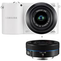 "Samsung Smart ""Wireless"" NX1000 Mirrorless 20.3MP Digital Camera with 20-50mm & 16mm Lens, HD 1080p Video, 3D Panorama, i-Function 2.0, 3"" LCD Display, White"