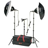 K6RC 3 Light, 1250 watt Home Portrait Lighting Kit with Light Cart on Wheels Carrying Case. Product image - 237