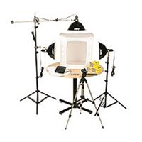 "KLB-3, Three Light 1500 Total watt Photoflood Light Box Kit with 28"" Shooting Tent. Product picture - 450"