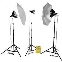 Smith Victor KT750U 3-Light 750-Watt Thrifty Photoflood Kit with Umbrellas image