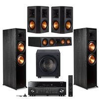 Deals on 2x Klipsch RP-8000F Ebony + RP-404C + HT/1205 + RX-A780 + RP-502S Pair