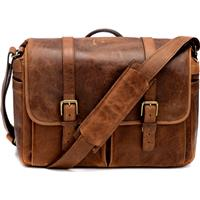 ONA The Brixton Camera and Laptop Messenger Bag Antique Cognac Leather 150 - 168