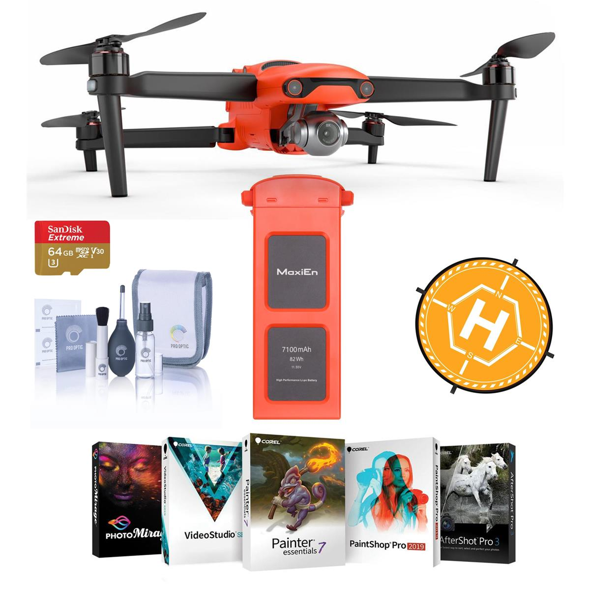 """Autel Robotics EVO II Drone - Bundle With Autel Robotics EVO II Battery, 64GB MicroSDXC Card, FS Labs 36"""" Collapsible Foldable Landing Pad, Software Package, Cleaning Kit"""