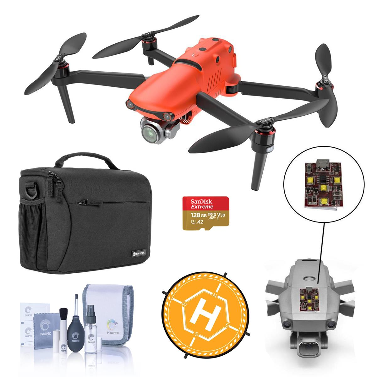 """Autel Robotics EVO II PRO Drone - Bundle With 128GB MicroSDXC Card, Firehouse Technology ARC White, Strobe FS Labs 36"""" Collapsible Foldable Landing Pad, Shoulder Bag, Cleaning Kit"""