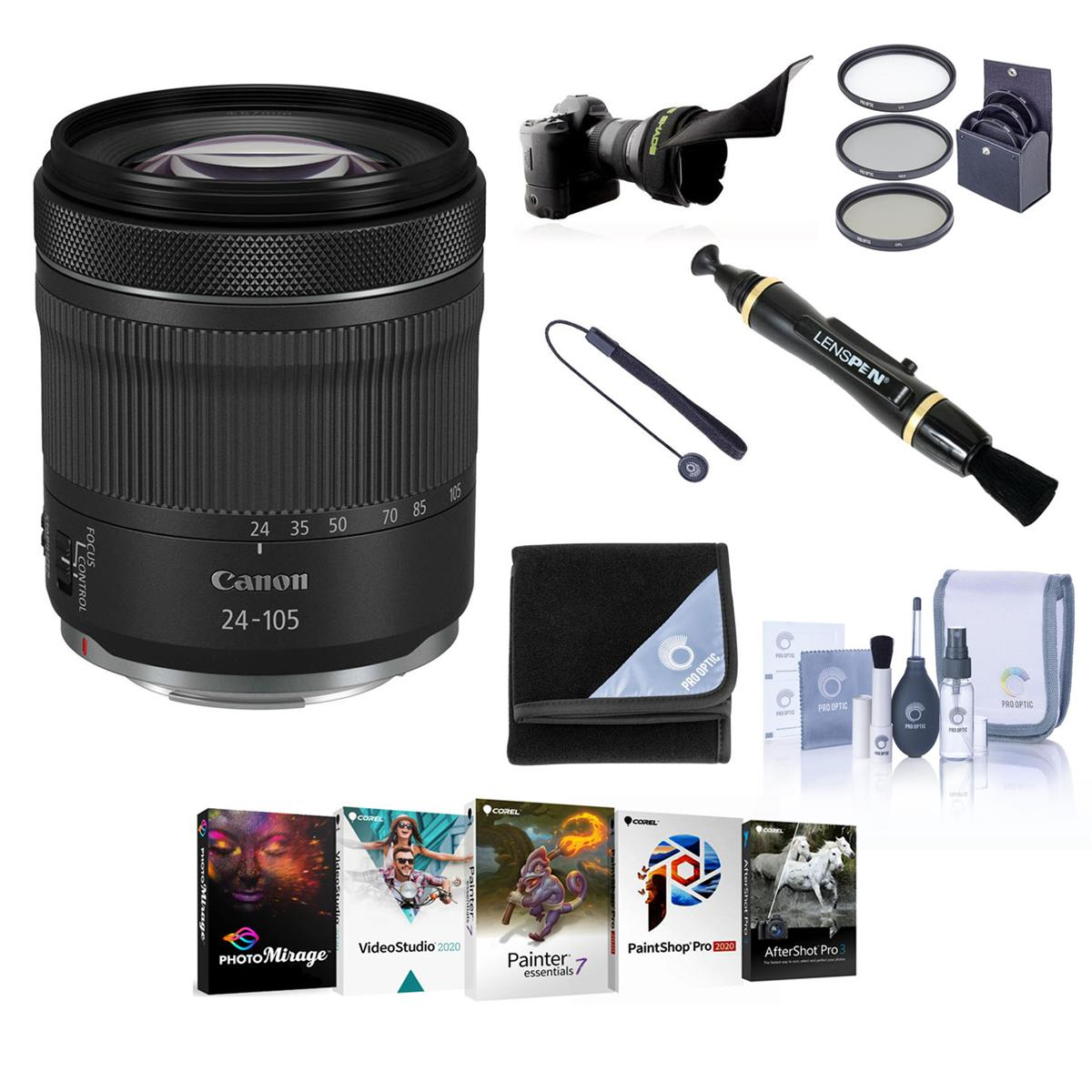 Canon RF 24-105mm f/4-7.1 IS STM Lens - Bundle With 67mm Filter Kit, Flex Lens Shade, LensPen Lens Cleaner, Lens Wrap, Cleaning Kit, Capleash, Software Package