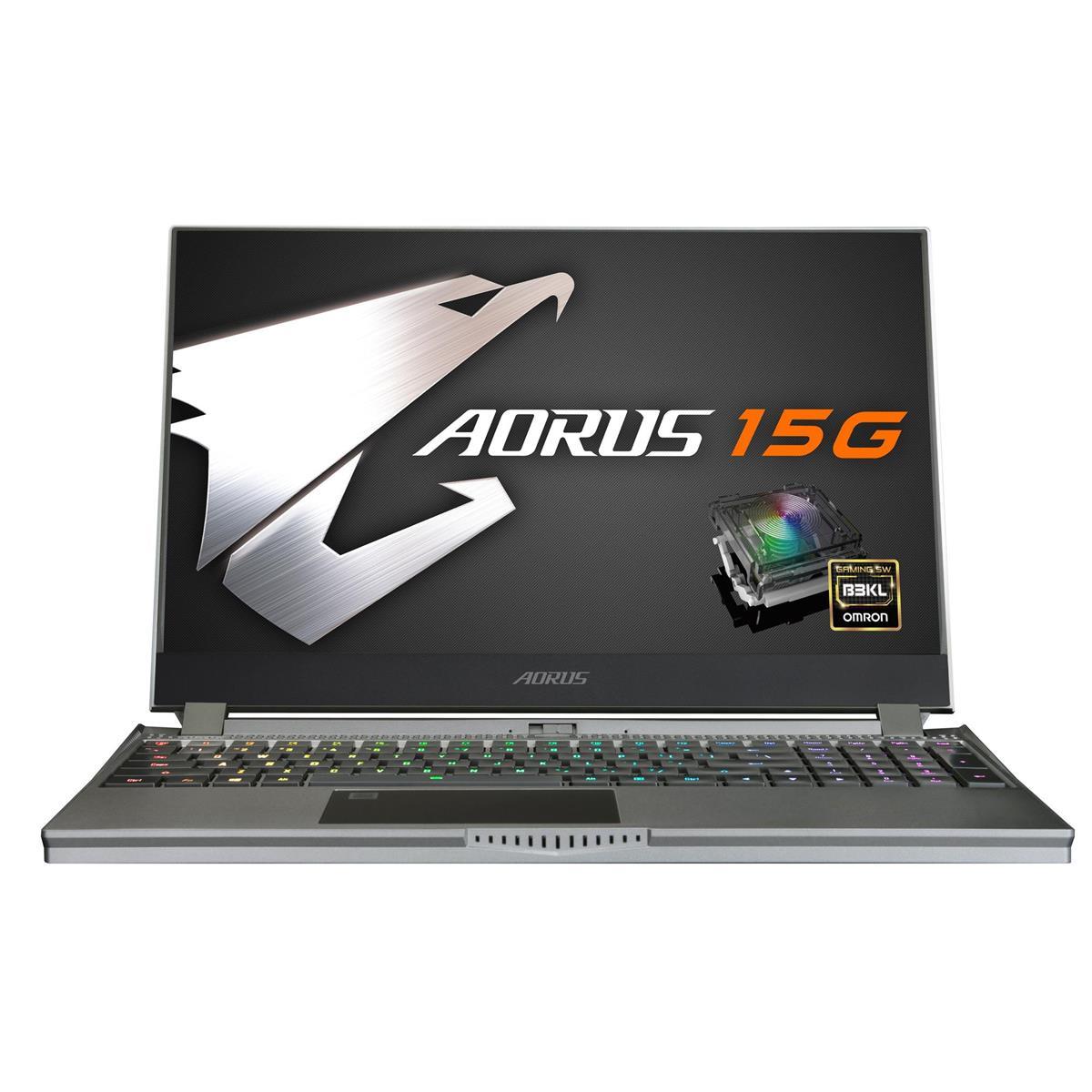 "Gigabyte AORUS 15G 15.6"" Full HD 240Hz Gaming Notebook Computer, Intel Core i7-10875H 2.3GHz, 16GB RAM, 512GB SSD, NVIDIA GeForce RTX 2070 8GB, Windows 10 Home, Black"