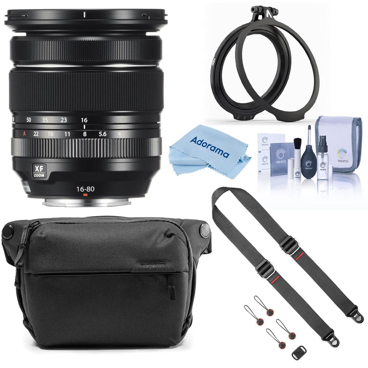 Fujifilm XF 16-80mm f/4.0 R OIS WR Lens Bundle with Peak Design Accessories