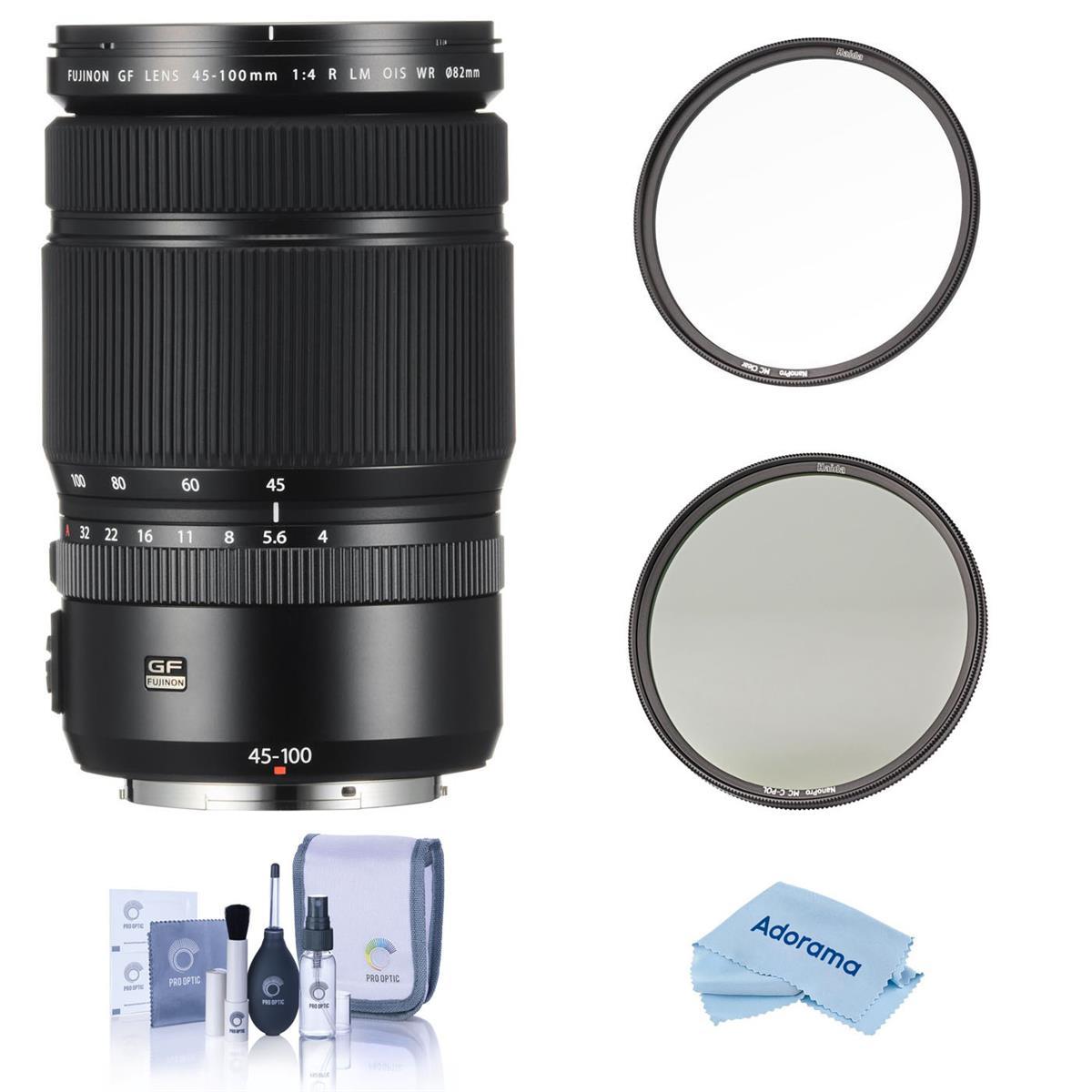 Fujifilm GF 45-100mm F4 R LM WR Lens - With Haida 82mm NanoPro MC Clear Filter,- Haida 82mm NanoPro MC Circular Polarizer Filter, Cleaning Kit, Microfiber Cloth