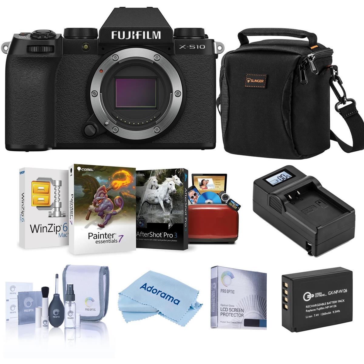 Fujifilm X-S10 Mirrorless Camera, Black - Bundle with Free Accessories & Mac Software Suite