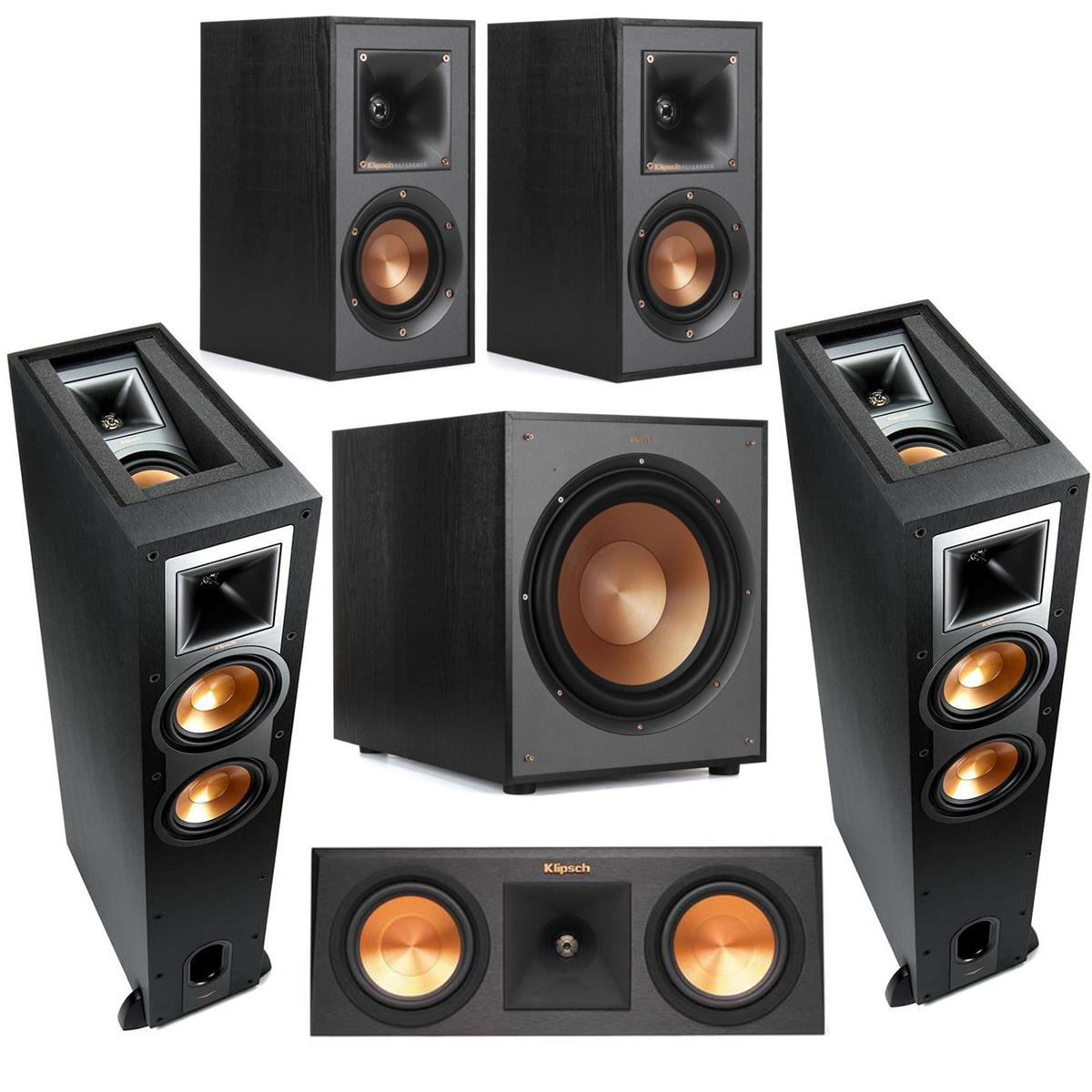 Klipsch 2 Pack R-26FA Dolby Atmos Speaker - Bundle With Klipsch Premiere RP-250C 2-Way C enter Speaker Ebony, Klipsch R-41M Bookshelf Home Speakers (Pair), Klipsch R-120 SW Subwoofer