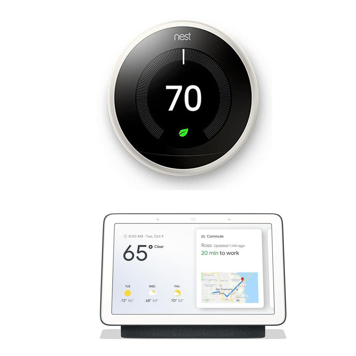 """Google Nest Nest Learning Thermostat White Bundle with 7"""" Touchscreen Nest Hub Charcoal"""